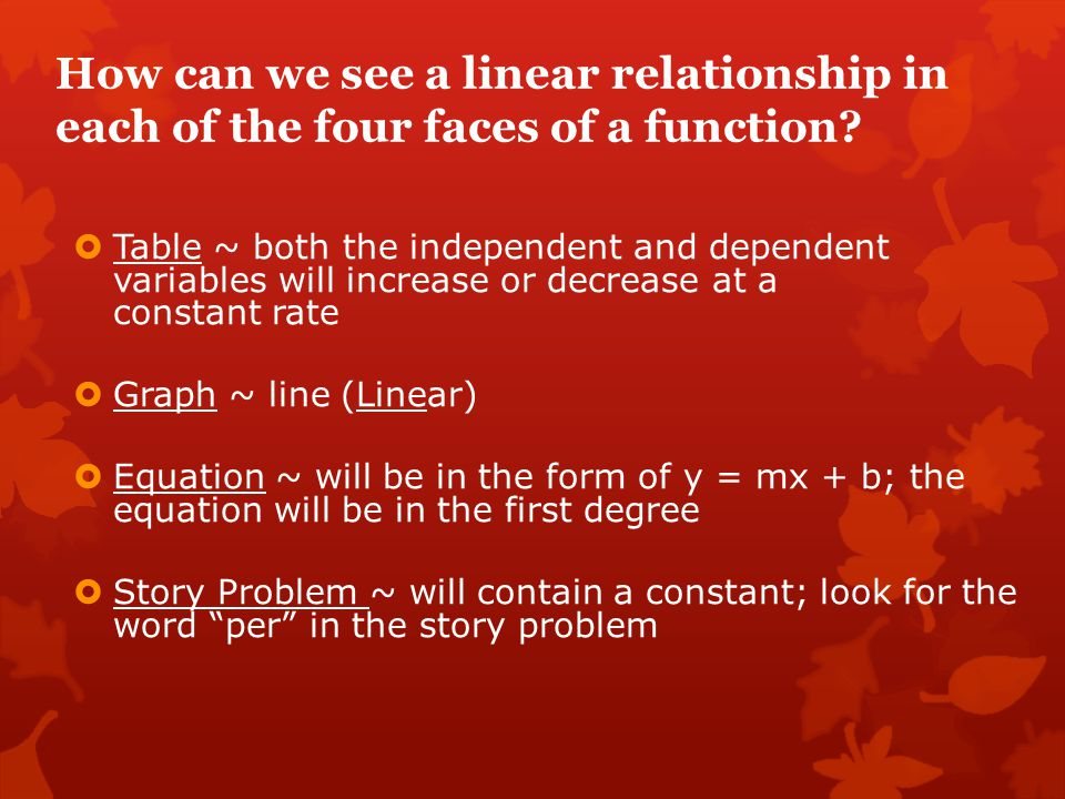 How can we see a linear relationship in each of the four faces of a function?  Table ~ both the independent and dependent variables will increase or