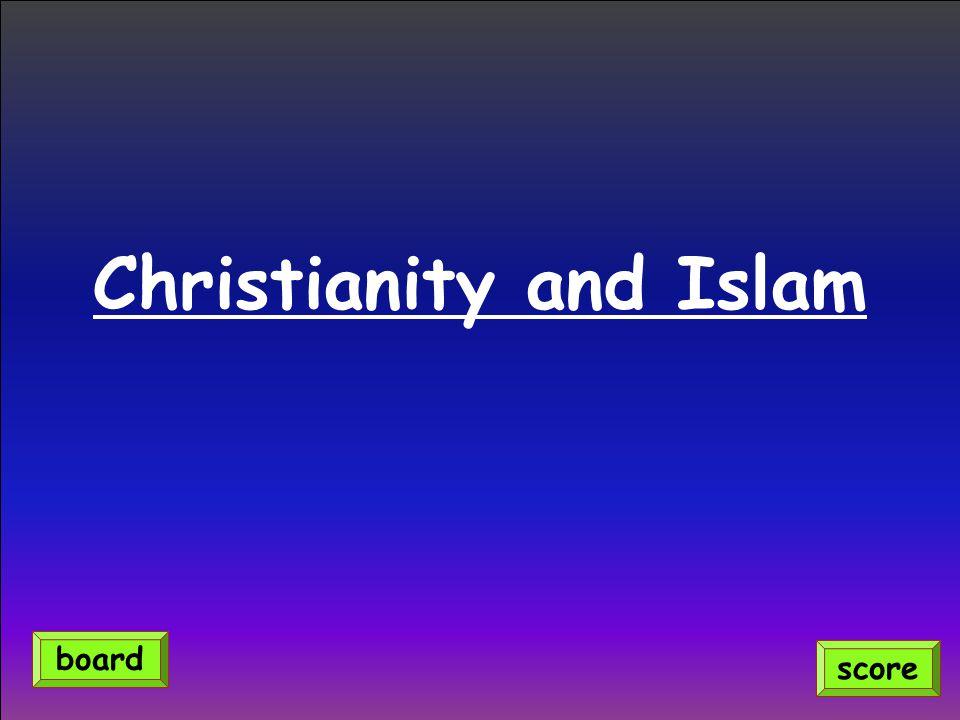 Christianity and Islam score board