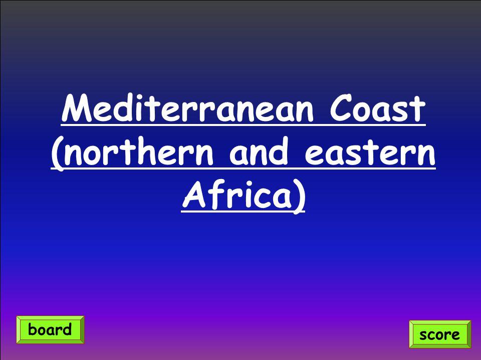 Mediterranean Coast (northern and eastern Africa) score board