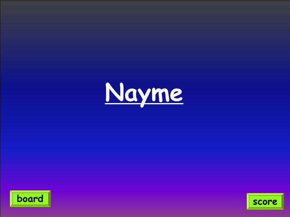 Nayme score board