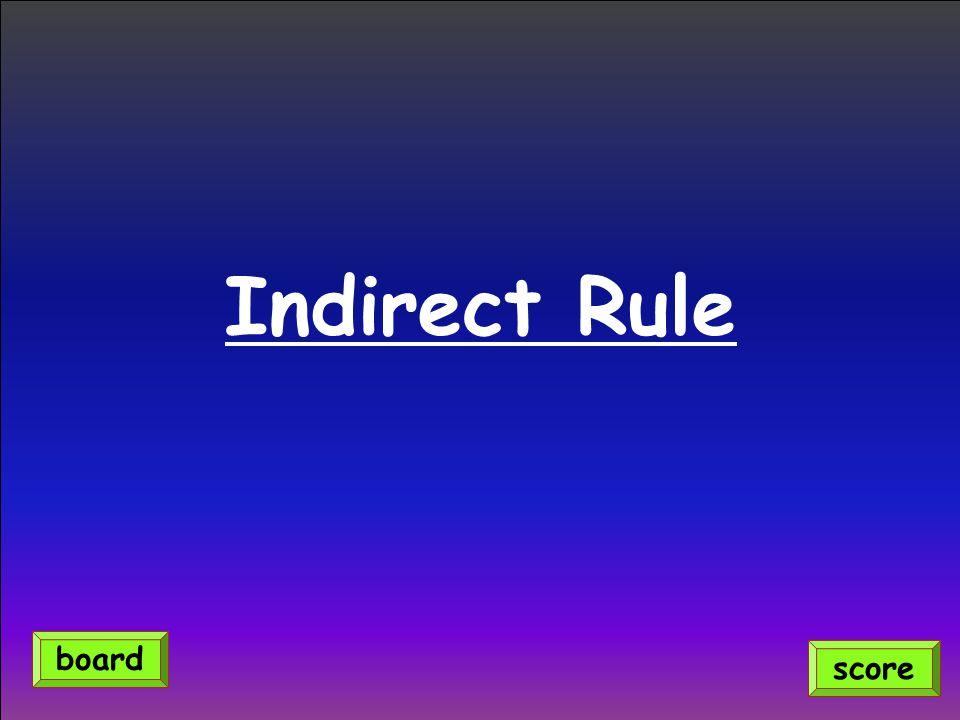 Indirect Rule score board