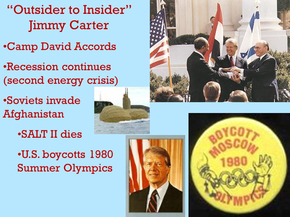 Outsider to Insider Jimmy Carter Camp David Accords Recession continues (second energy crisis) Soviets invade Afghanistan SALT II dies U.S.