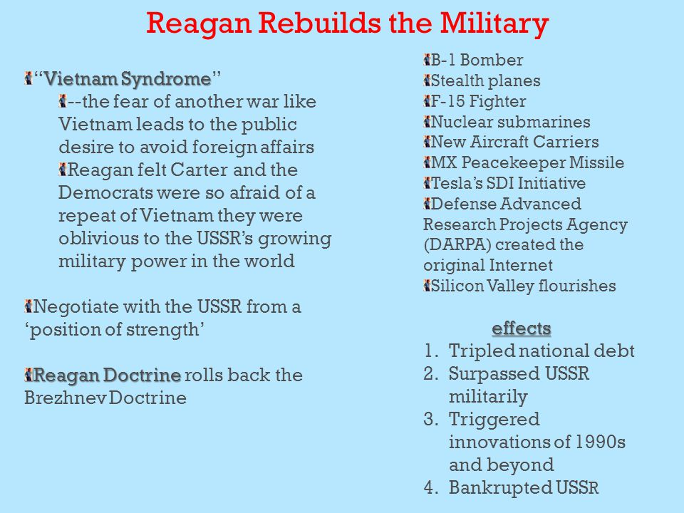 Reagan Rebuilds the Military Vietnam Syndrome Vietnam Syndrome --the fear of another war like Vietnam leads to the public desire to avoid foreign affairs Reagan felt Carter and the Democrats were so afraid of a repeat of Vietnam they were oblivious to the USSR's growing military power in the world Negotiate with the USSR from a 'position of strength' Reagan Doctrine Reagan Doctrine rolls back the Brezhnev Doctrine B-1 Bomber Stealth planes F-15 Fighter Nuclear submarines New Aircraft Carriers MX Peacekeeper Missile Tesla's SDI Initiative Defense Advanced Research Projects Agency (DARPA) created the original Internet Silicon Valley flourisheseffects 1.Tripled national debt 2.Surpassed USSR militarily 3.Triggered innovations of 1990s and beyond 4.Bankrupted USS R