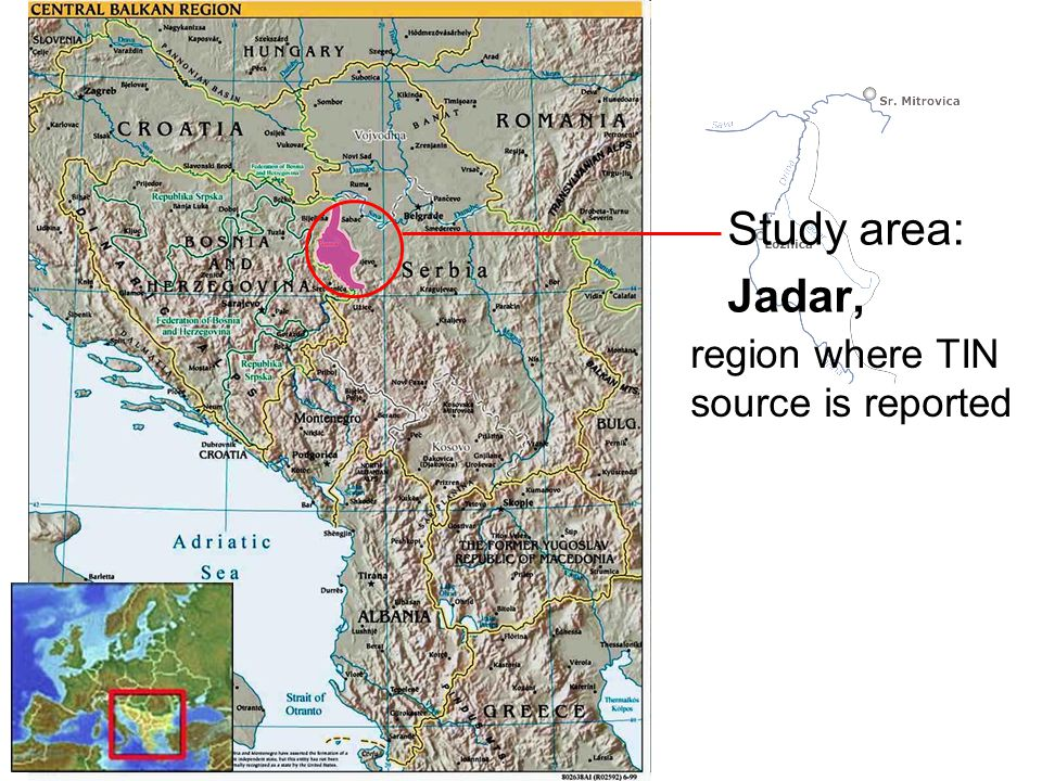 Study area: Jadar, region where TIN source is reported