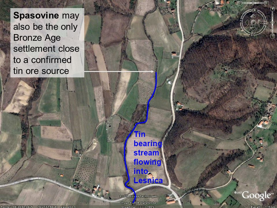 Spasovine may also be the only Bronze Age settlement close to a confirmed tin ore source Tin bearing stream flowing into Lesnica