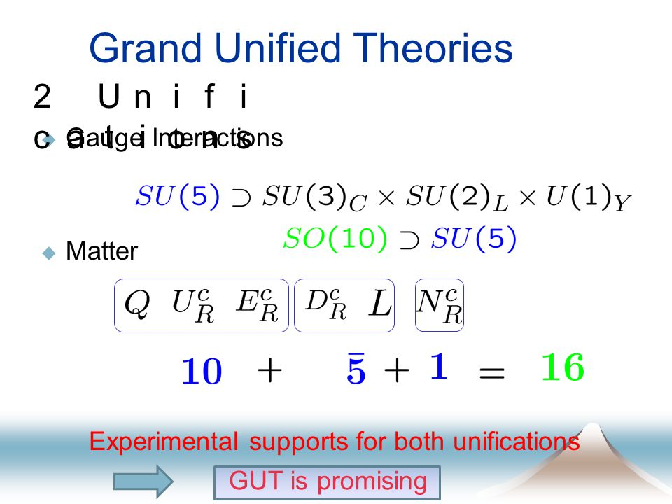 Grand Unified Theories  Gauge Interactions  Matter 2 Unifi cations Experimental supports for both unifications GUT is promising