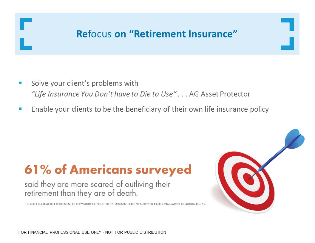 FOR FINANCIAL PROFESSIONAL USE ONLY - NOT FOR PUBLIC DISTRIBUTION Refocus on Retirement Insurance  Solve your client's problems with Life Insurance You Don't have to Die to Use ...