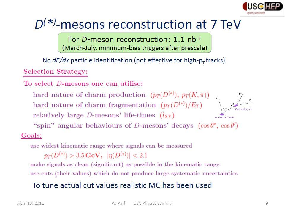 April 13, 2011W. Park USC Physics Seminar10