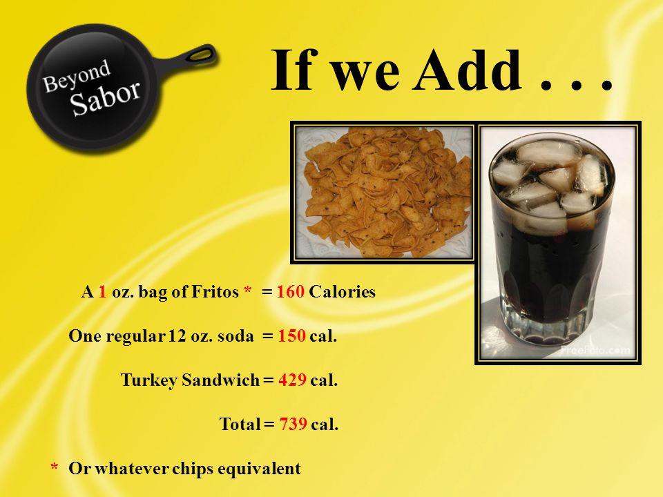 A 1 oz. bag of Fritos * = 160 Calories One regular 12 oz.