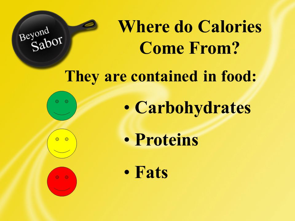 Where do Calories Come From They are contained in food: Carbohydrates Proteins Fats