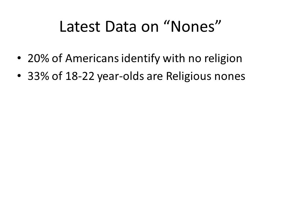 Latest Data on Nones 20% of Americans identify with no religion 33% of 18-22 year-olds are Religious nones