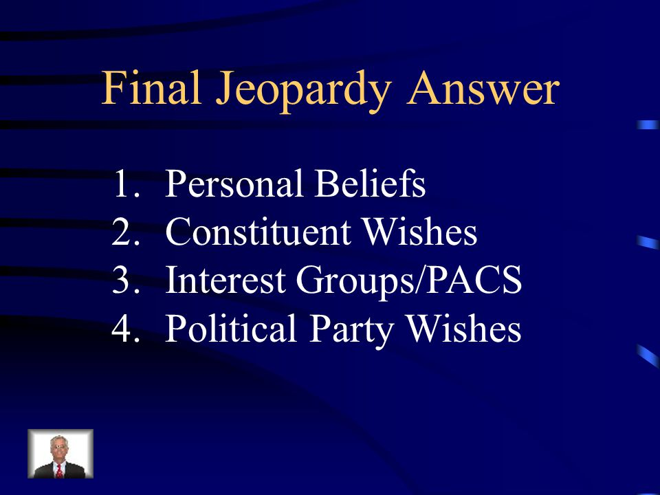 Final Jeopardy Identify 4 influences a member of Congress must consider every time they make a decision or cast a vote.