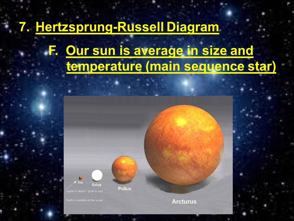 7.Hertzsprung-Russell Diagram F. Our sun is average in size and temperature (main sequence star)