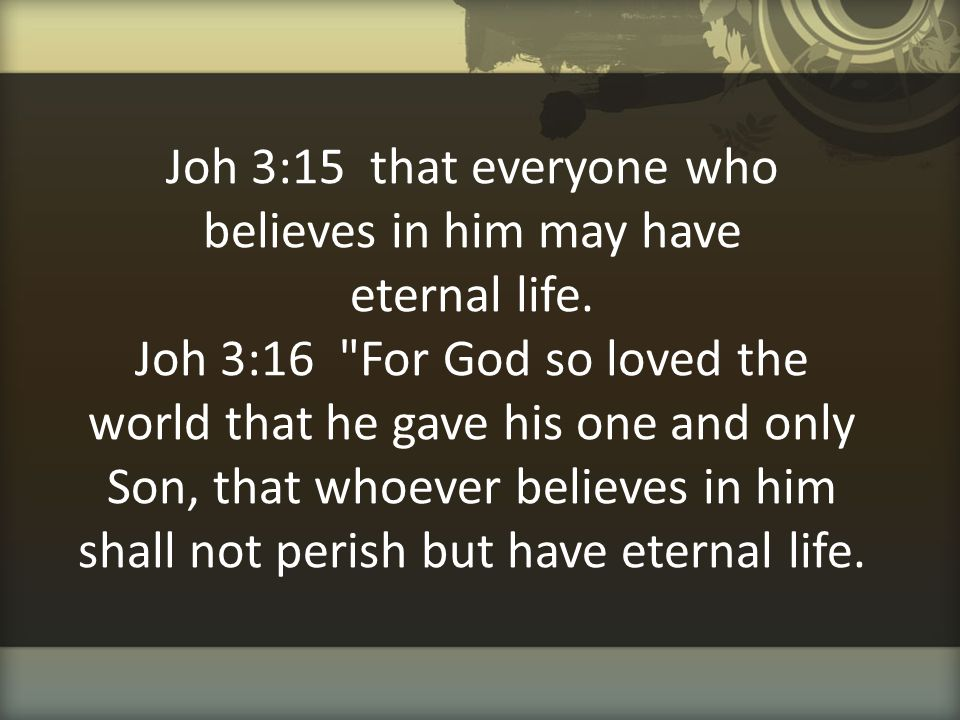 Joh 3:15 that everyone who believes in him may have eternal life. Joh 3:16