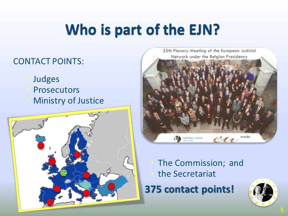 Who is part of the EJN? CONTACT POINTS: Judges Prosecutors Ministry of Justice The Commission; and the Secretariat 375 contact points! 5
