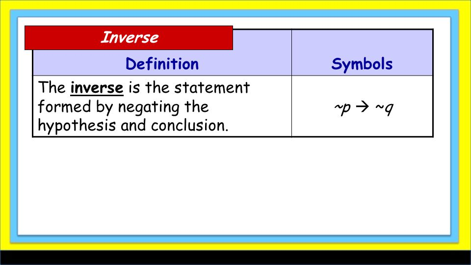 DefinitionSymbols The inverse is the statement formed by negating the hypothesis and conclusion. ~p  ~q Inverse