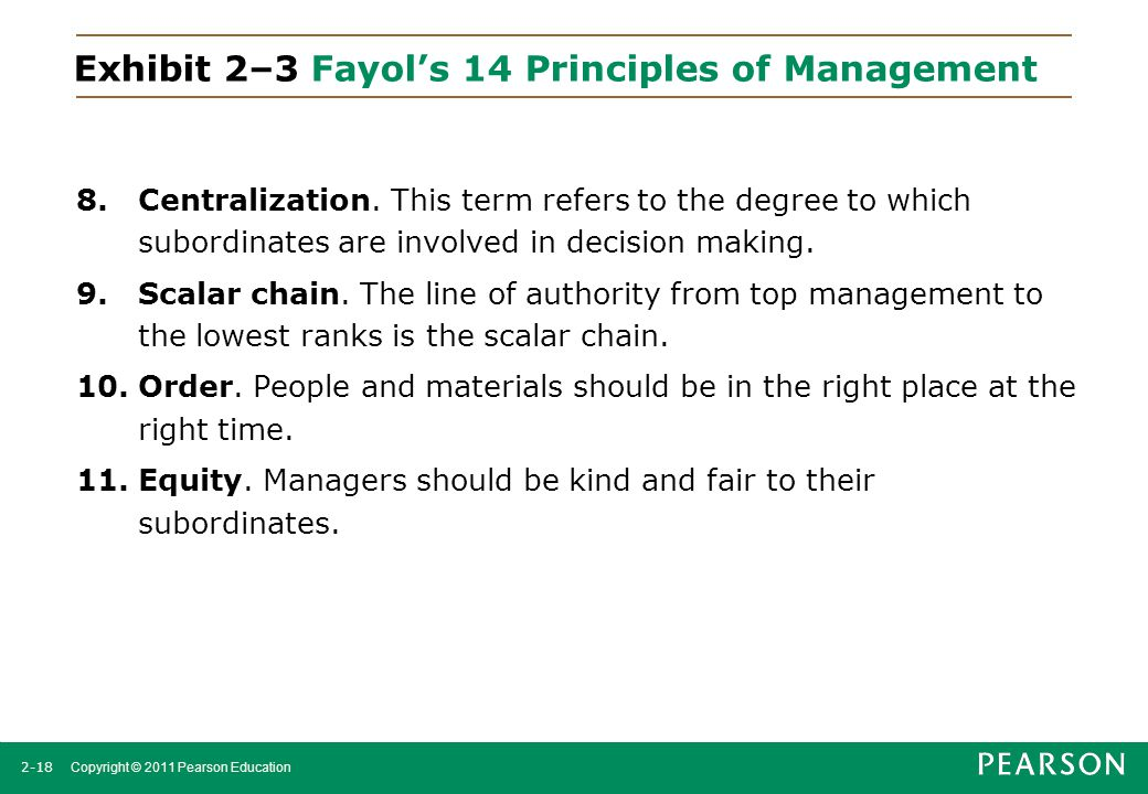 2-18 Copyright © 2011 Pearson Education Exhibit 2–3 Fayol's 14 Principles of Management 8.Centralization. This term refers to the degree to which subo