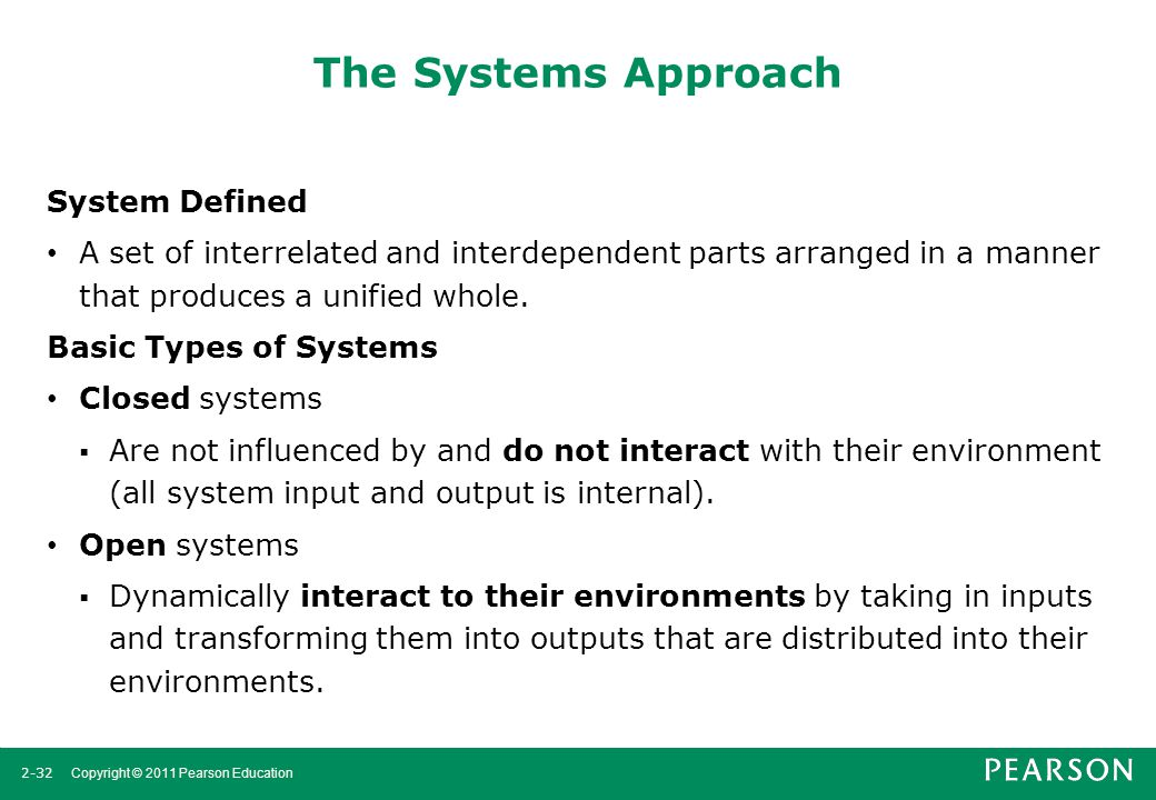 2-32 Copyright © 2011 Pearson Education The Systems Approach System Defined A set of interrelated and interdependent parts arranged in a manner that p