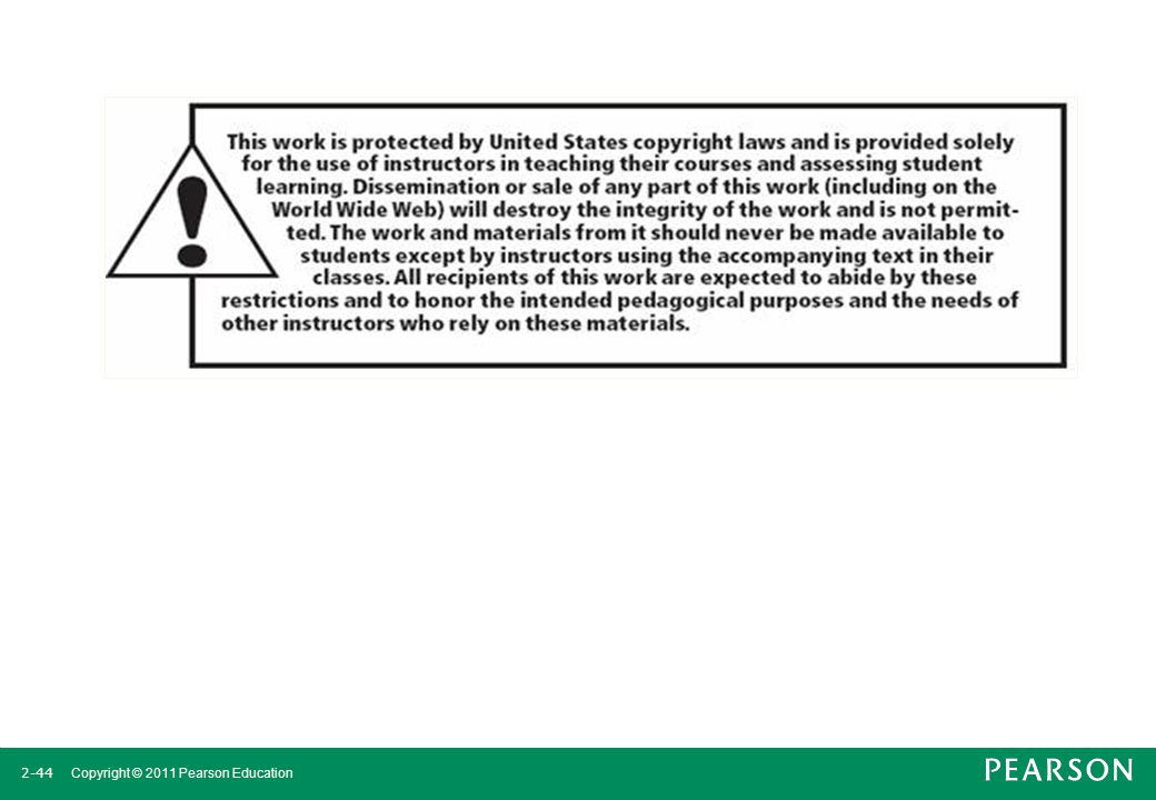 2-44 Copyright © 2011 Pearson Education