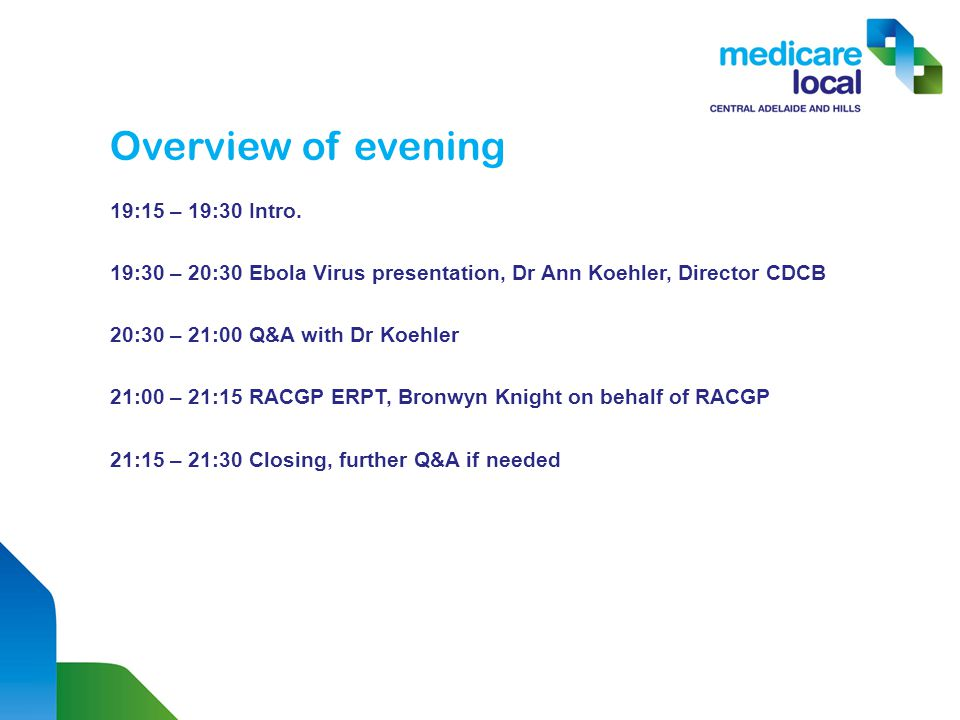 Overview of evening 19:15 – 19:30 Intro.
