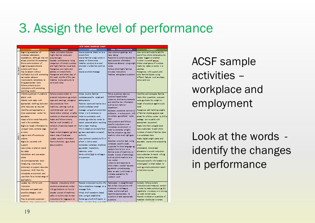 3. Assign the level of performance ACSF sample activities – workplace and employment Look at the words - identify the changes in performance 19