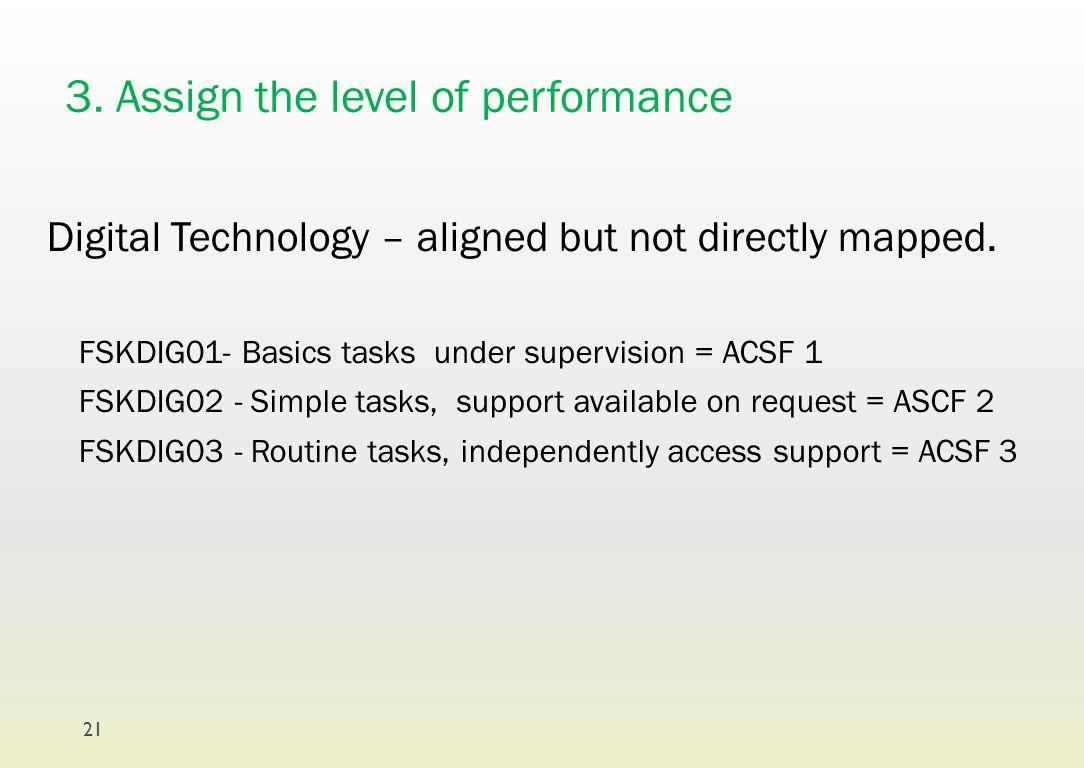 3. Assign the level of performance Digital Technology – aligned but not directly mapped. FSKDIG01- Basics tasks under supervision = ACSF 1 FSKDIG02 -