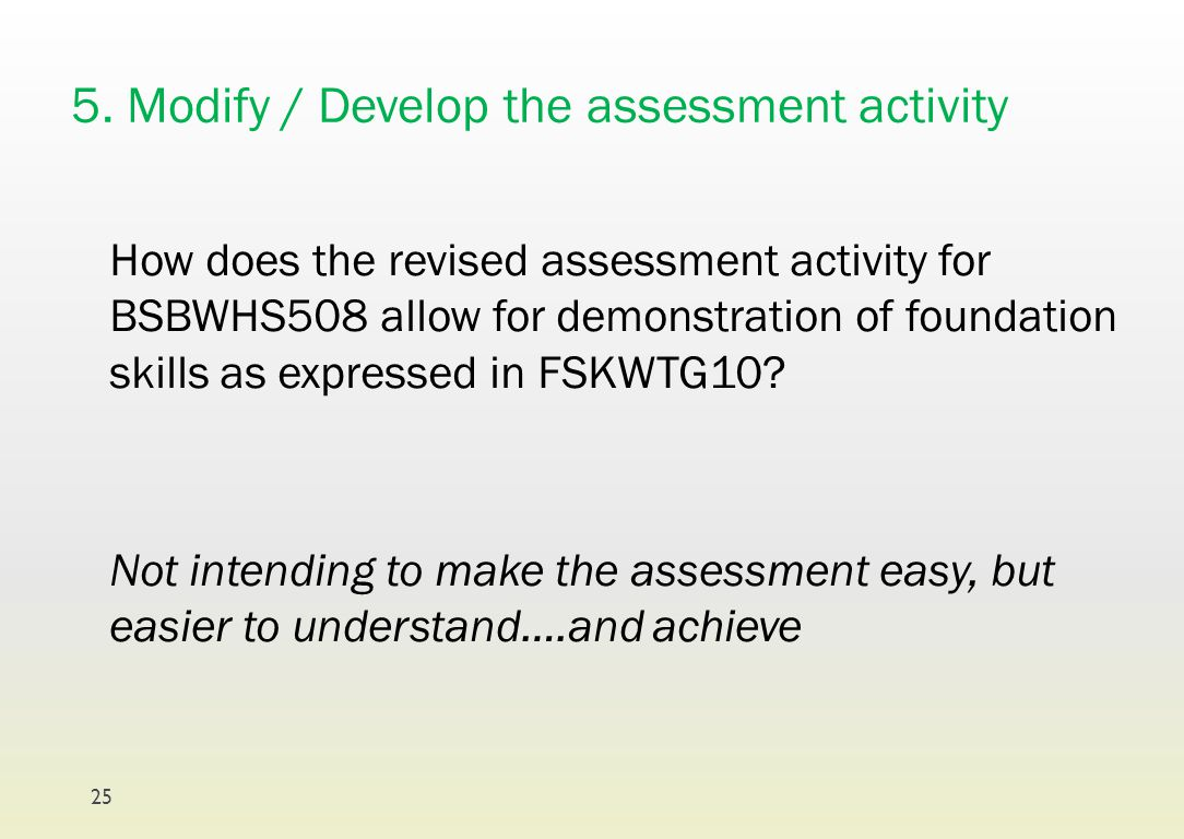 5. Modify / Develop the assessment activity How does the revised assessment activity for BSBWHS508 allow for demonstration of foundation skills as exp