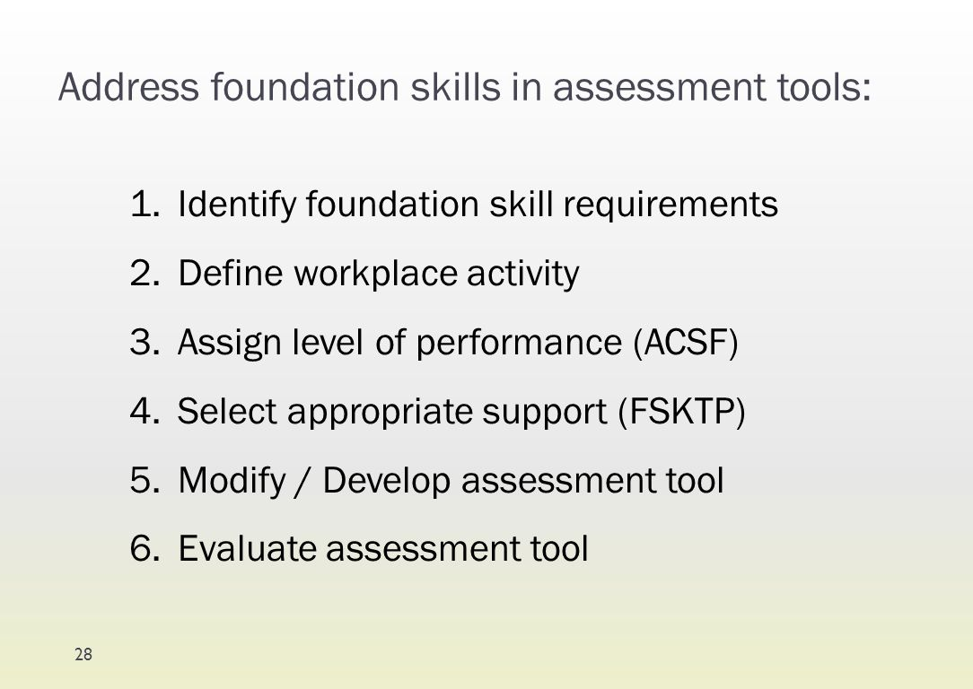 Address foundation skills in assessment tools: 1.Identify foundation skill requirements 2.Define workplace activity 3.Assign level of performance (ACS