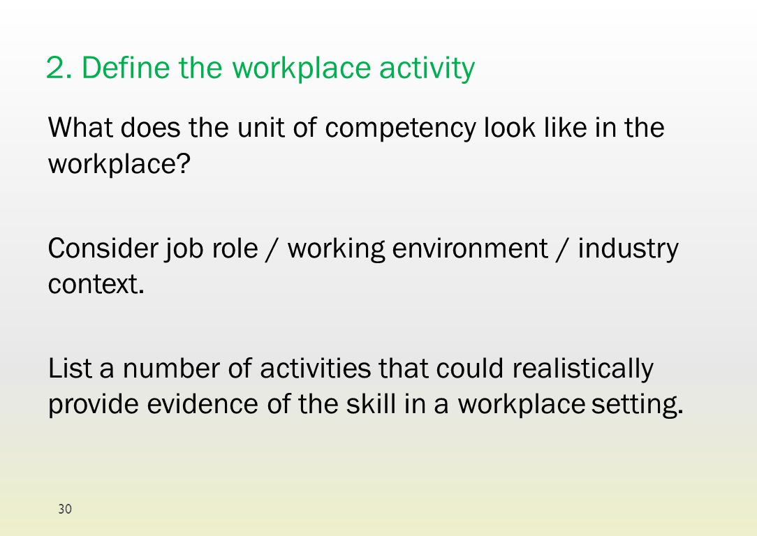 2. Define the workplace activity What does the unit of competency look like in the workplace? Consider job role / working environment / industry conte