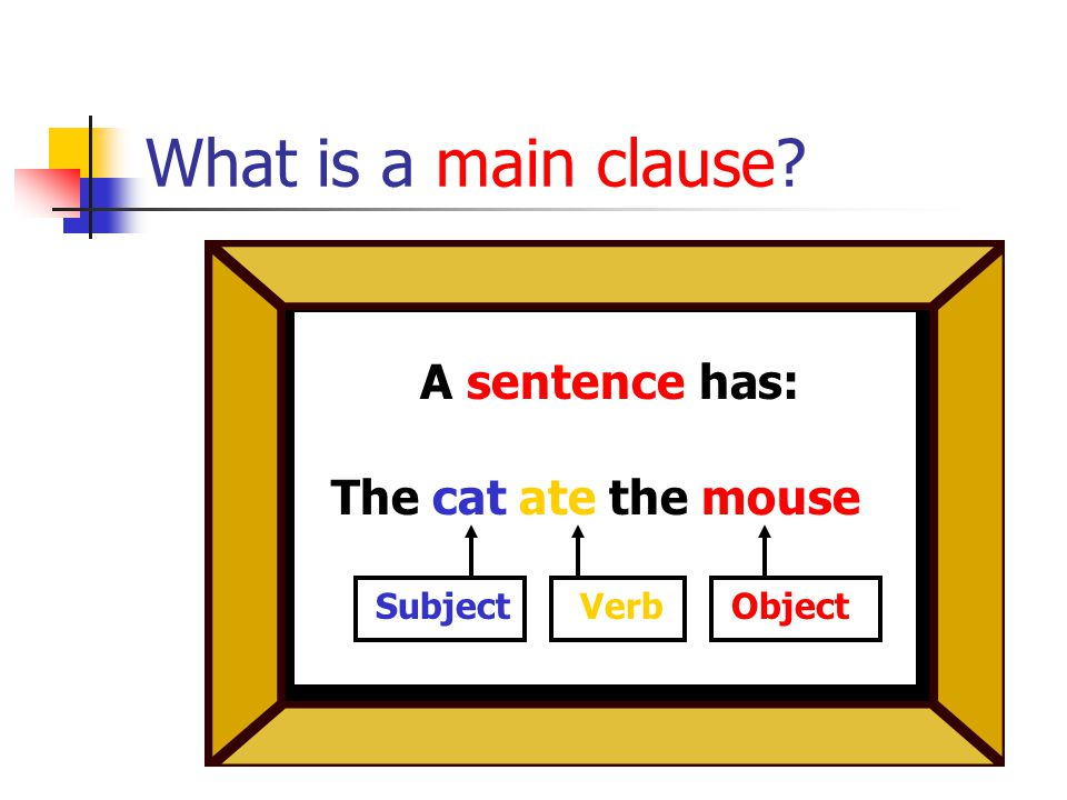 What is a main clause The cat ate the mouse! A sentence has: SubjectVerbObject