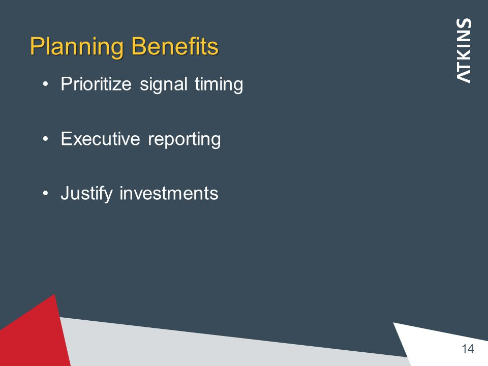 Planning Benefits Prioritize signal timing Executive reporting Justify investments 14