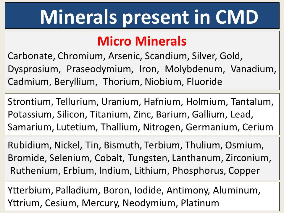 Minerals present in CMD Micro Minerals Carbonate, Chromium, Arsenic, Scandium, Silver, Gold, Dysprosium, Praseodymium, Iron, Molybdenum, Vanadium, Cad