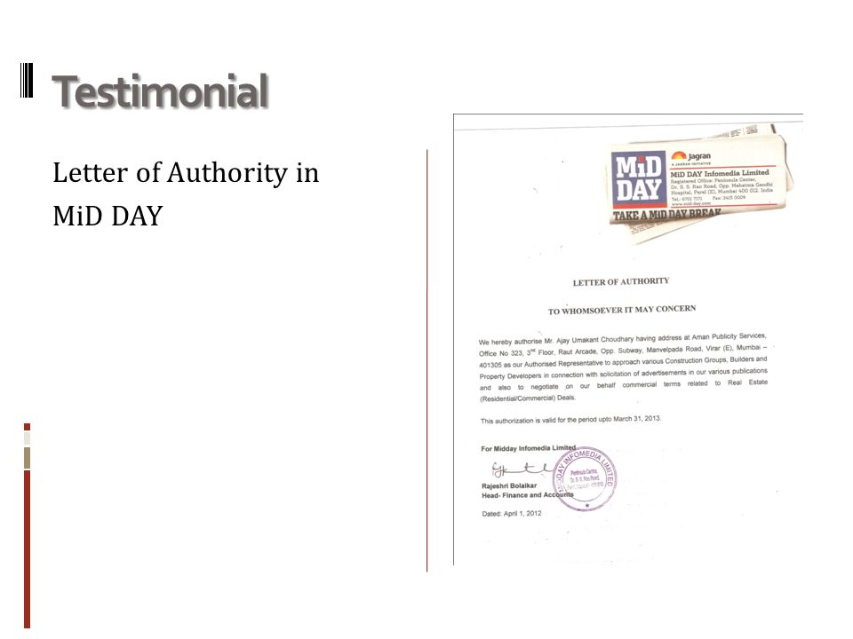 Testimonial Letter of Authority in MiD DAY