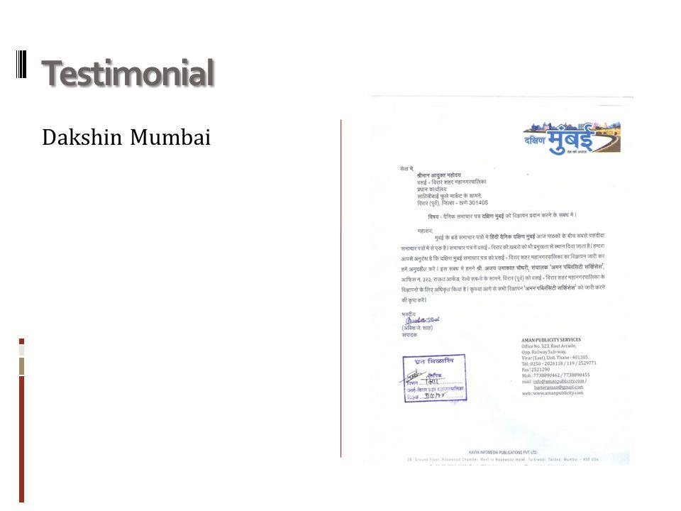 Testimonial Dakshin Mumbai