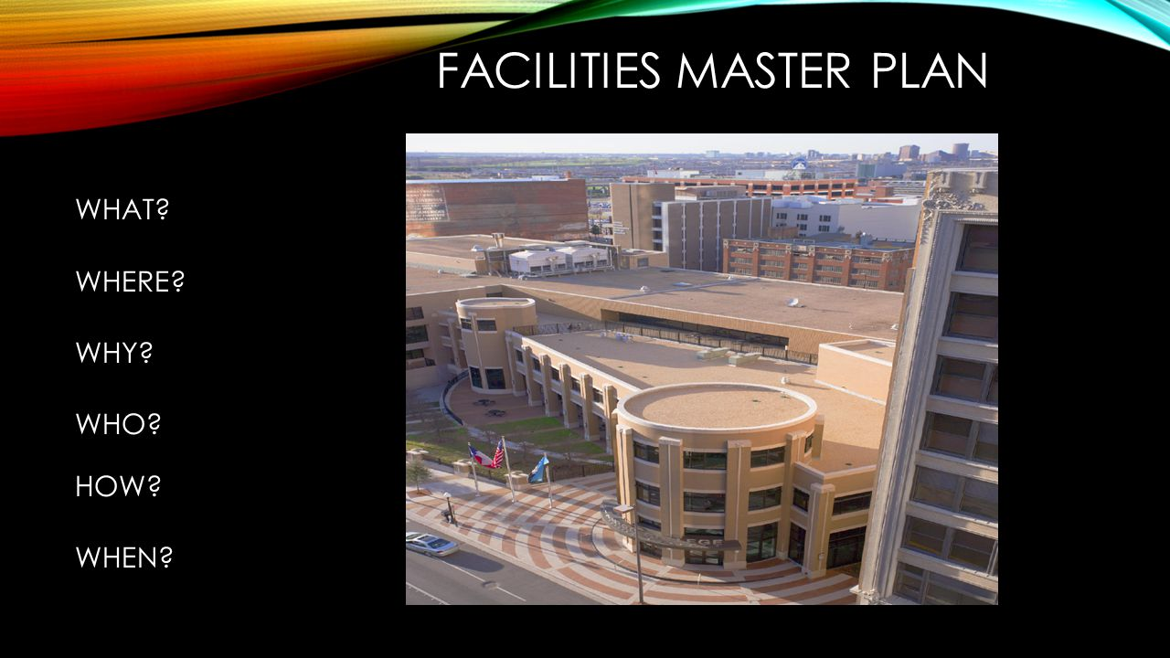 FACILITIES MASTER PLAN WHAT WHERE WHY WHO HOW WHEN