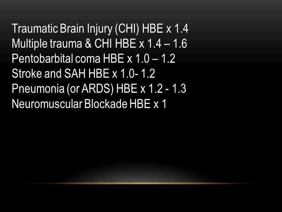 Traumatic Brain Injury (CHI) HBE x 1.4 Multiple trauma & CHI HBE x 1.4 – 1.6 Pentobarbital coma HBE x 1.0 – 1.2 Stroke and SAH HBE x 1.0- 1.2 Pneumonia (or ARDS) HBE x 1.2 - 1.3 Neuromuscular Blockade HBE x 1
