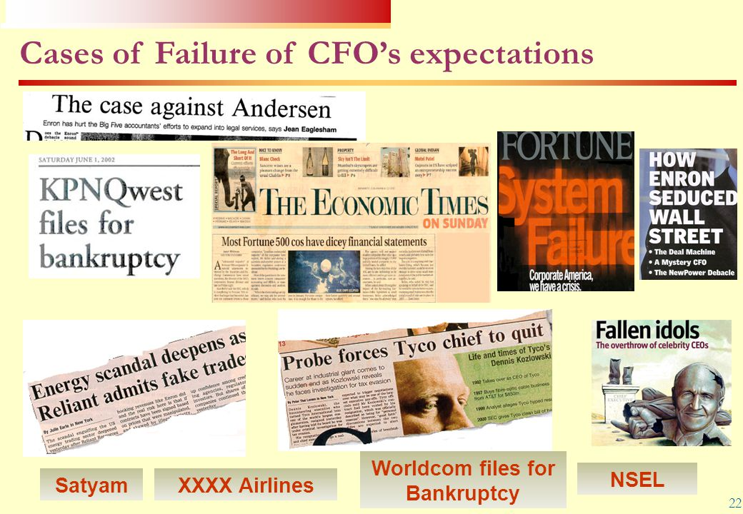 22 Worldcom files for Bankruptcy Cases of Failure of CFO's expectations XXXX Airlines NSEL Satyam