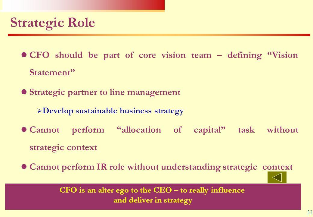 "33 Strategic Role CFO should be part of core vision team – defining ""Vision Statement"" Strategic partner to line management  Develop sustainable busi"