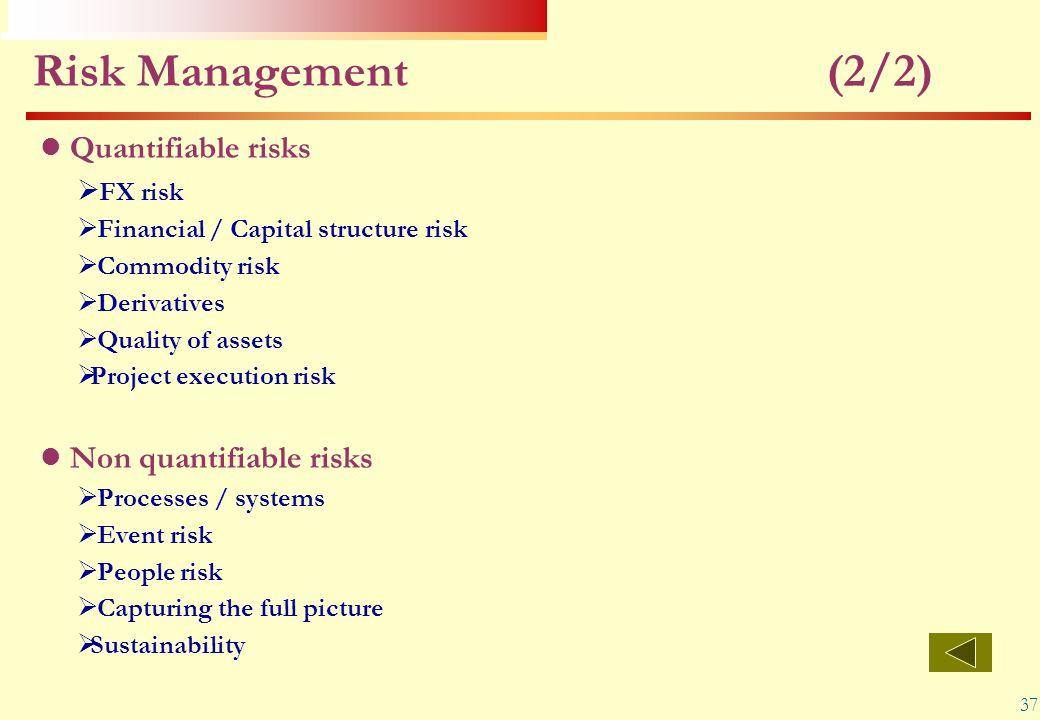 37 Risk Management (2/2) Quantifiable risks  FX risk  Financial / Capital structure risk  Commodity risk  Derivatives  Quality of assets  Projec