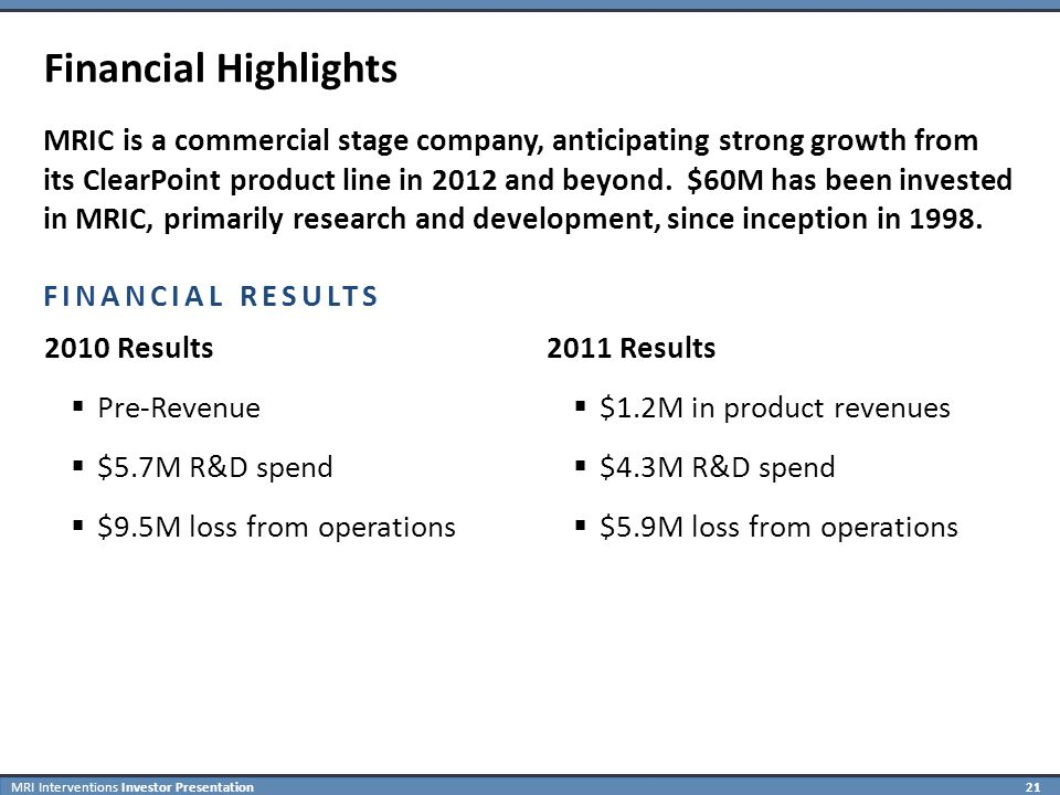 MRI Interventions Investor Presentation 21 Financial Highlights MRIC is a commercial stage company, anticipating strong growth from its ClearPoint product line in 2012 and beyond.