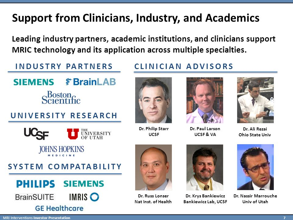 MRI Interventions Investor Presentation 7 Support from Clinicians, Industry, and Academics Leading industry partners, academic institutions, and clinicians support MRIC technology and its application across multiple specialties.