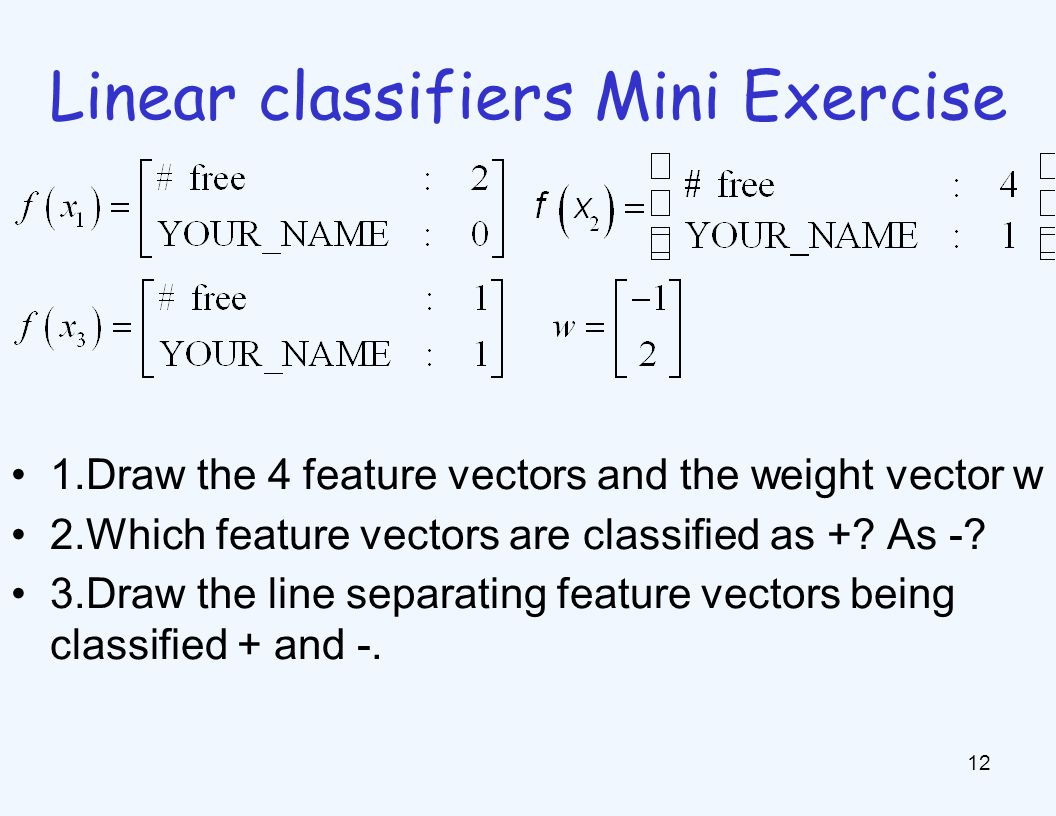 Linear classifiers Mini Exercise 12 1.Draw the 4 feature vectors and the weight vector w 2.Which feature vectors are classified as +? As -? 3.Draw the