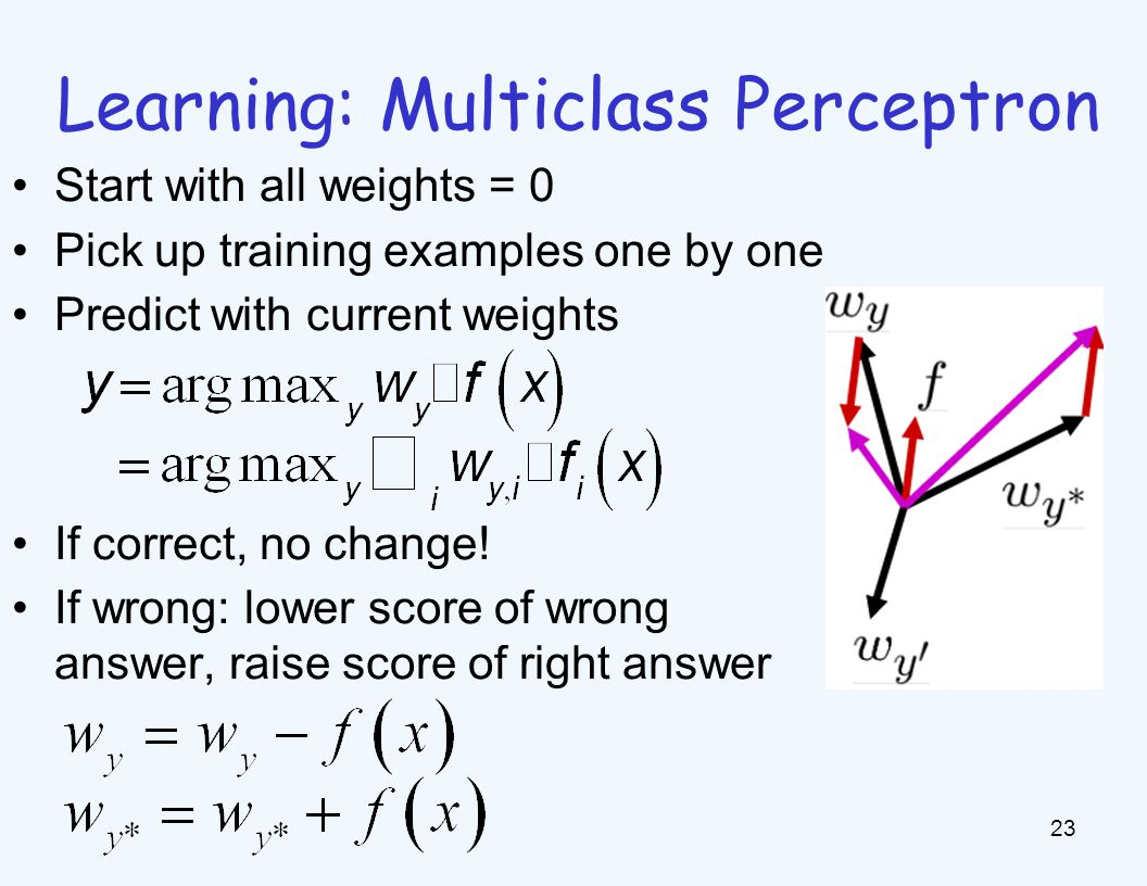 Learning: Multiclass Perceptron 23 Start with all weights = 0 Pick up training examples one by one Predict with current weights If correct, no change!