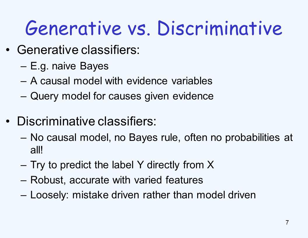 Outline 8 Generative vs.