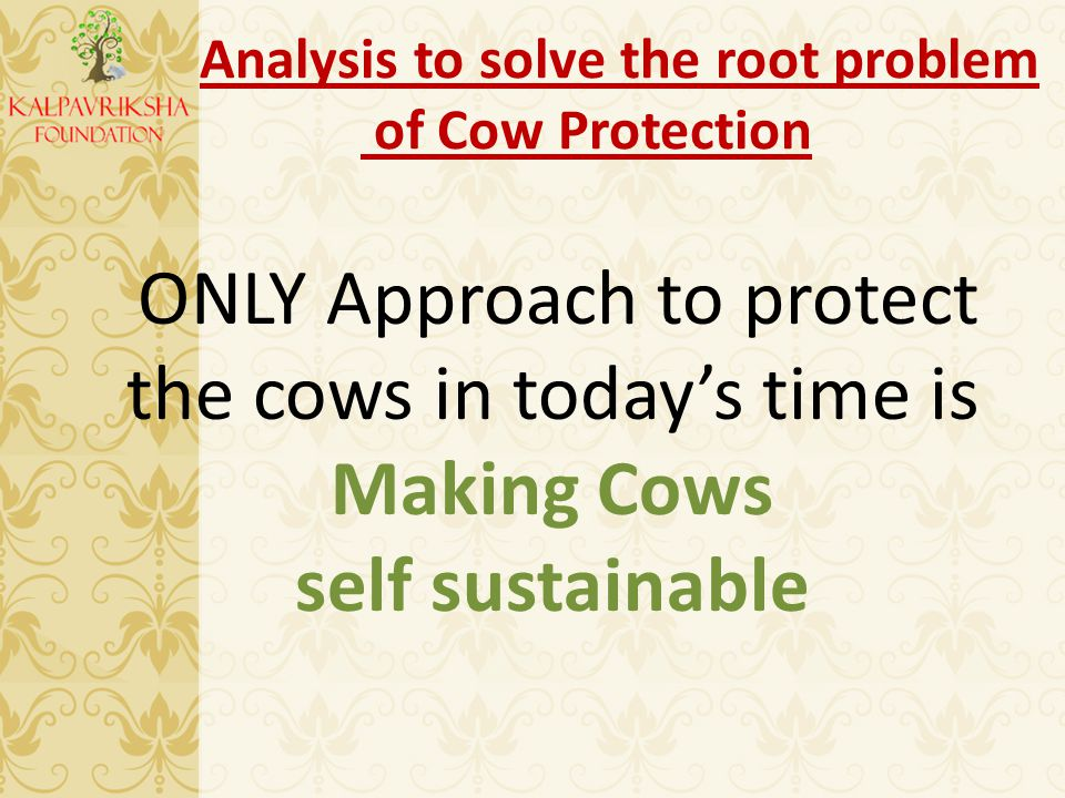 Analysis to solve the root problem of Cow Protection ONLY Approach to protect the cows in today's time is Making Cows self sustainable
