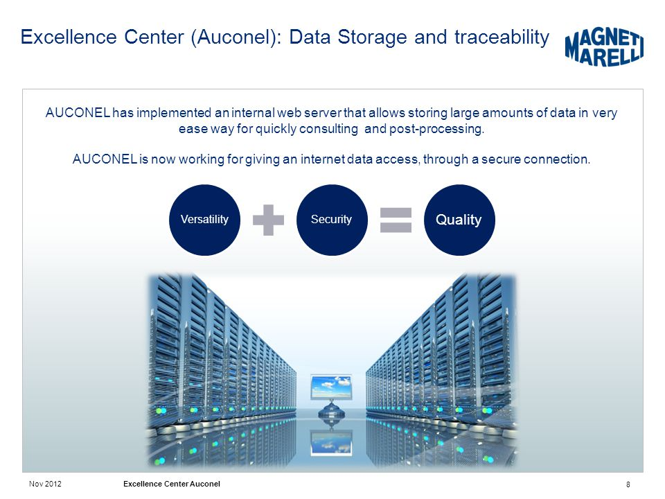 Nov 2012 Excellence Center Auconel Excellence Center (Auconel): Data Storage and traceability 8 AUCONEL has implemented an internal web server that allows storing large amounts of data in very ease way for quickly consulting and post-processing.