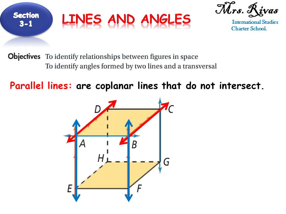 Skew lines: are lines that do not intersect and are not coplanar.