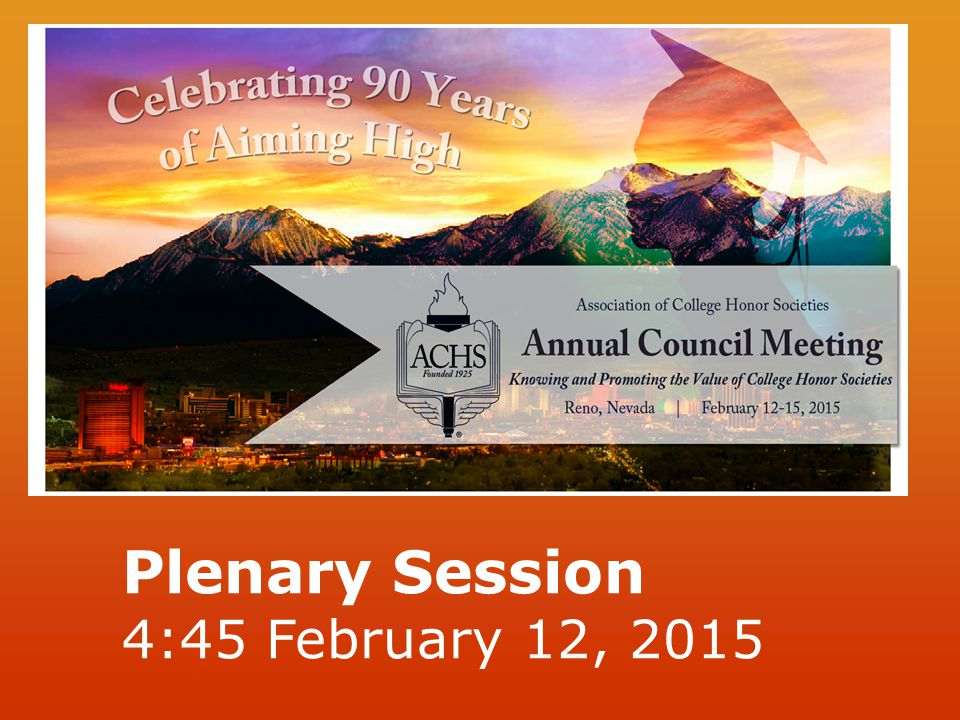 Plenary Session 4:45 February 12, 2015