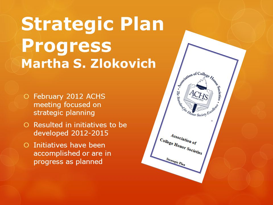 Strategic Plan Progress Martha S.