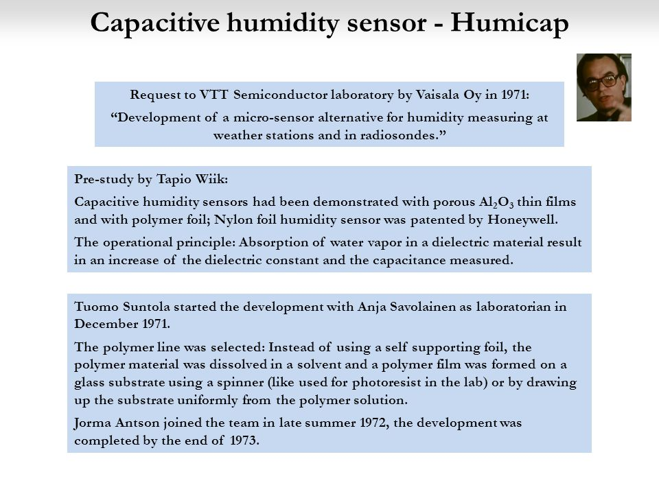 Capacitive humidity sensor - Humicap Pre-study by Tapio Wiik: Capacitive humidity sensors had been demonstrated with porous Al 2 O 3 thin films and with polymer foil; Nylon foil humidity sensor was patented by Honeywell.
